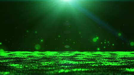 Dark green background with floating green bubbles and sparkling light from the top. Stock Photo