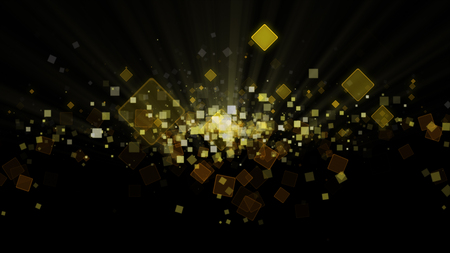 Digital black abstract background with sparkling wave particles forming a yellow square, gold and deep space. Particles form into lines, surfaces and grids Stock Photo