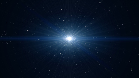 Blue background, digital signature with wave particles, sparkle, veil and space with depth of field. The particles are white light lines. Stock Photo