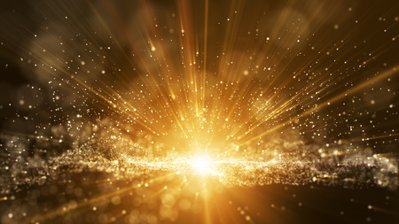 Dark brown background, digital signature with particles, sparkling waves, curtains and areas with deep depths. The particles are golden light lines. Stock Photo