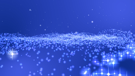 Blue background, digital signature with particles, sparkling waves, curtains and areas with deep depths The particles are white stars.