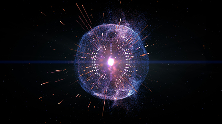3-dimensional illustration of the future display, the motion of the particles gathered into a blue sphere with colored lines running  through the concept of cyber information technology.