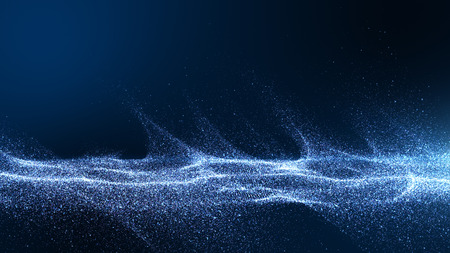 Dark blue digital background signatures with small particles gathered in waves, blue shadows spread throughout the area and areas with deep clarity. Archivio Fotografico - 125078891