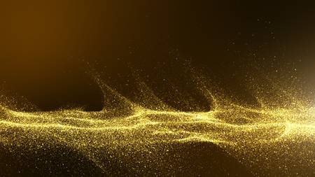 dark brown background with small particles gathered into light waves golden yellow shadows spread throughout the area and areas with deep contrast. Archivio Fotografico - 125078894