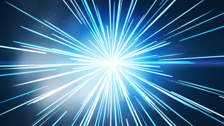 The blue background in the middle, with blue and white light lines, bursting out beautifully like a fireworks exploding with different depths. Archivio Fotografico - 125078902