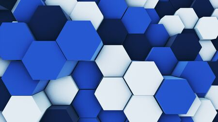 3d render abstract colorful many technical geometric hexagons as a wave white and blue background. lights ray shine glow beam Banco de Imagens