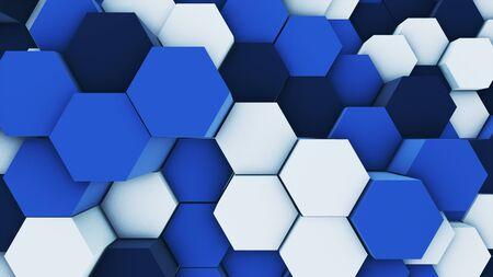 Rendu 3D abstrait coloré de nombreux hexagones géométriques techniques comme fond blanc et bleu d'onde. lumières rayon éclat lueur faisceau Banque d'images
