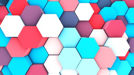 3d render abstract pastel colorful many technical geometric hexagons as background.