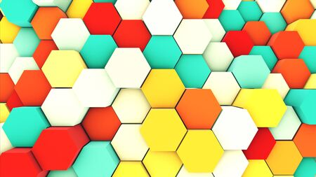 3d render abstract colorful many technical geometric hexagons as a wave white , yellow and blue background. lights ray shine glow beam