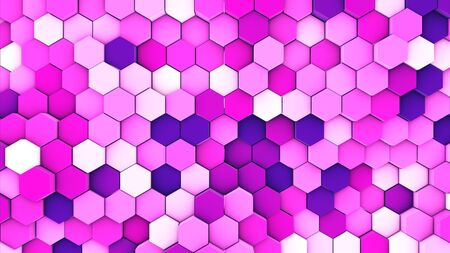 3d render abstract colorful many technical geometric hexagons as a wave white and pink background. lights ray shine glow beam   Stock Photo