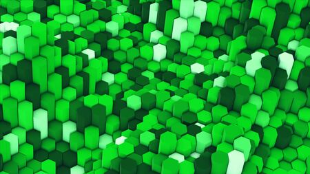 3d render abstract colorful many technical geometric hexagons as a wave white and green background. lights ray shine glow beam