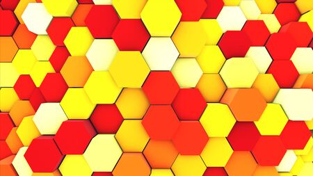 3d render abstract colorful many technical geometric hexagons as a wave Yellow and orange background. lights ray shine glow beam Stock fotó