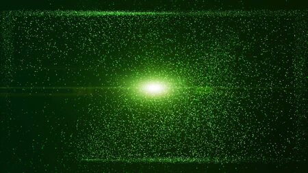 Glow green dust particle in square box, explosion light ray beam. Stock fotó