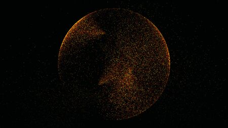 The black background has a small yellow-orange dust particle that shines in a circular motion. Banco de Imagens