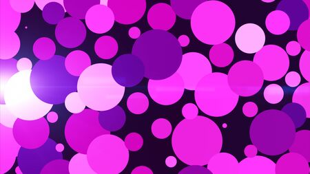 The dark purple background has many circular particles of various colors spread out throughout the area.