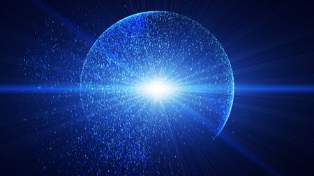The dark blue background has a small blue  dust particle that shines in a circular motion, explosion light ray beam. Stock fotó