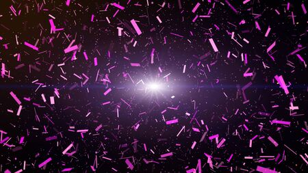 Colorful confetti party paper explosion and falling down. dark purple background.