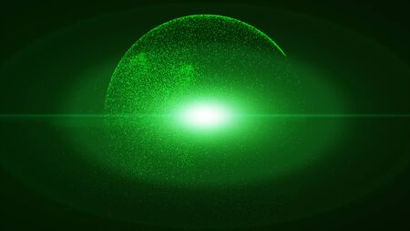 Dark green background has a small green dust particle that shines in a circular motion explosion light ray beam.