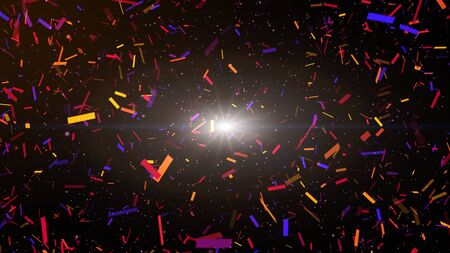 Colorful confetti party paper explosion and falling down. Black background.