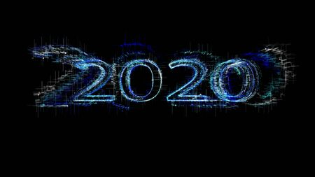New year 2020 greeting glow white blue particles.