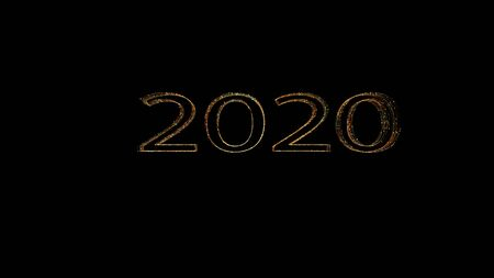New year 2020 greeting glow colorful particles.