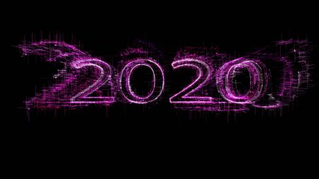 New year 2020 greeting glow white pink particles. Stock Photo