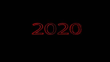 New year 2020 greeting glow white red particles. Stock Photo