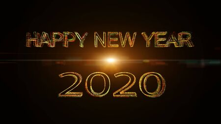 Happy New Year 2020 greet colorful glow particles 3D rendering fireworks celebration.