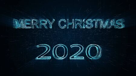 Christmas 2020, greeting glow white blue particles.