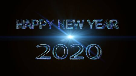 Happy new year  2020 greeting glow white blue particles. Stock Photo