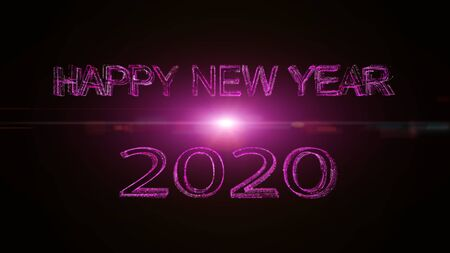 Happy new year  2020 greeting glow white pink particles.