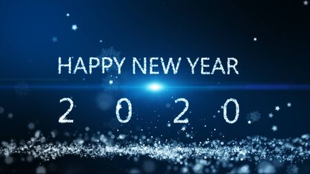 New year background, The particle merges into a Happy new year 2020 with light ray beam. Stock Photo