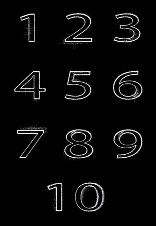 Abstract digital numbers graphics isolate on black background. The numbers are transformed one into another