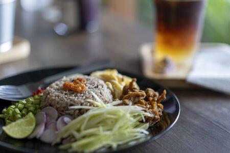 Thai food, Rice Seasoned with Shrimp Paste, khaao khlook gabpi Imagens
