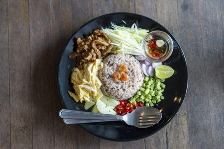 Thai food, Rice Seasoned with Shrimp Paste, khaao khlook gabpi 版權商用圖片