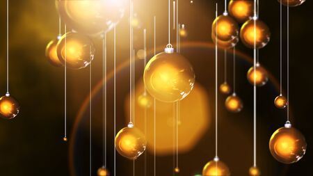3D rendering Hanging christmas gold balls background and golden light and flare.