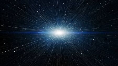 Dust white blue glitter particles trail line background explosion effect. Sparkling texture.