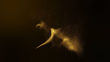 Gold glittering star dust trail sparkling particles on dark background. Space comet tail.