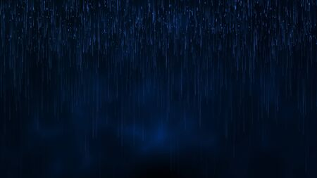 The dust rain particle water drop falling in rainy season with dark blue color as abstract background.