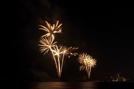 A beautiful fireworks in the night sky at pattaya beach Stock Photo - 13085702