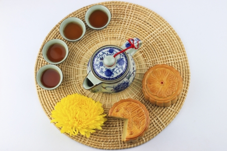 a traditional chinese food  for mid-autumn festival photo