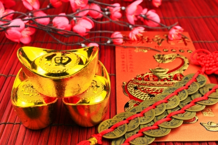 coins and gold and red pocket. Stock Photo - 17527542