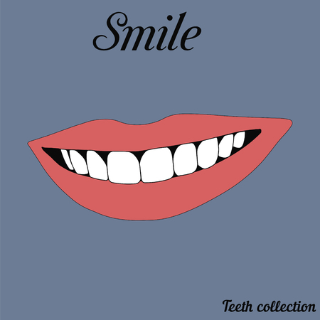 teeths: illustration of a smiley mouth pink show the teeths, red lips . bright lipstick smile.