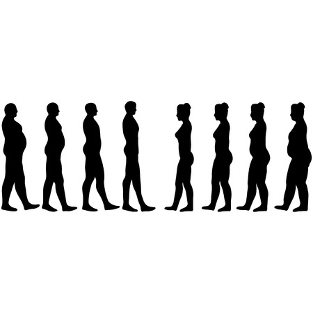 Pérdida de peso a hombres y mujeres, siluetas de adelgazamiento de hombres y mujeres en el vector en blanco Foto de archivo - 64318310