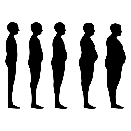 fatter: degree of obesity, the silhouettes of men with different degrees of obesity, from lean to thick, concept of diet and reducing excess weight. Vector illustration for print or design medical website