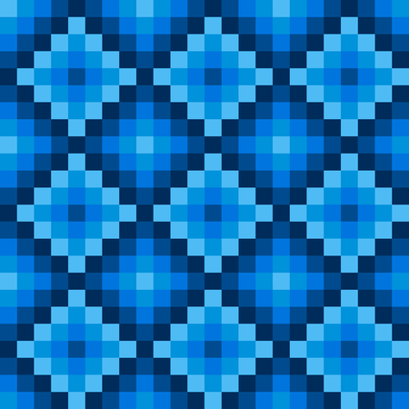 checked: Winter ethno seamless pixel pattern composed of blue squares with different shades of blue in a diamond snowflake, vector illustration for print or website design