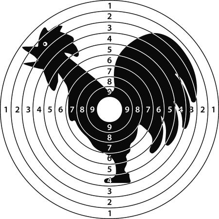 Gallo, gallo de destino para el campo de tiro, ilustración vectorial para el diseño de impresión o sitio web