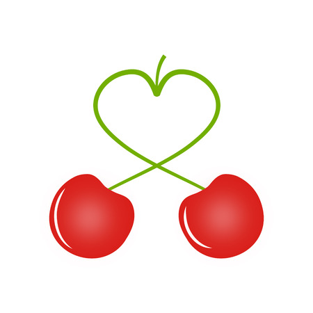 gean: Two cherries, cherry has the peduncle in the shape of a heart, love concept, vector illustration for print or website design