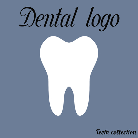 premolar: Dental logo simple cartoon white tooth silhouette, teeth, vector illustration icon, logo first tooth. Medical dental office symbols. Care for the oral cavity, dental health care, hospital vector for print or design