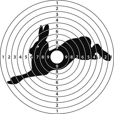 disparar conejo blanco de tiro, ilustración vectorial para la impresión o diseño de páginas web
